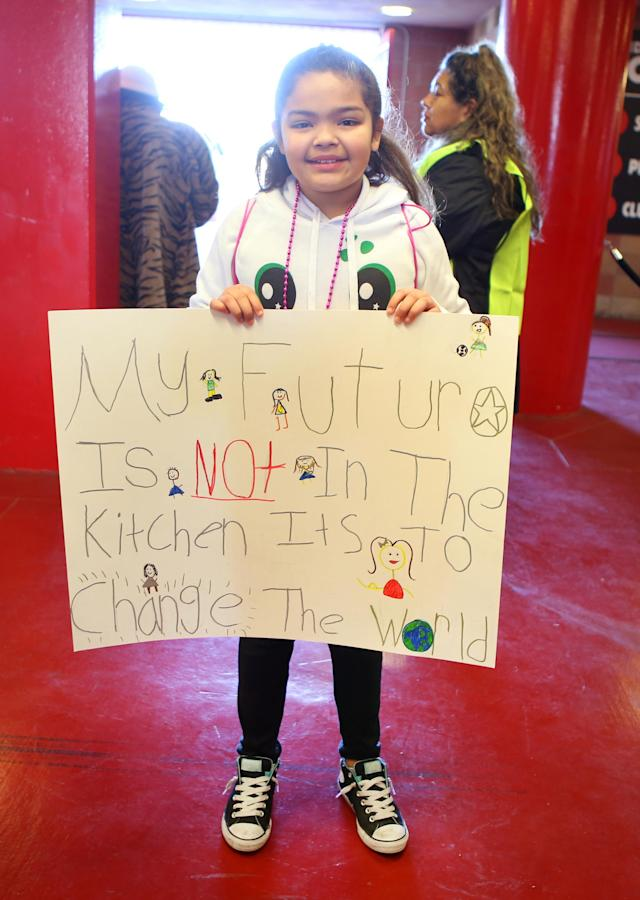 <p>Mia Agudo, 10, stands for a photo at a Women's March rally in Las Vegas. (Photo: Ronda Churchill for Yahoo Lifestyle) </p>