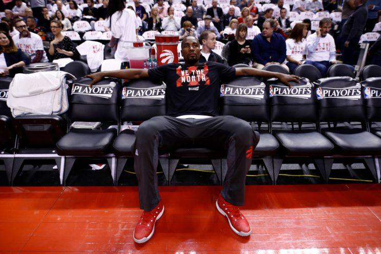 Serge Ibaka sits and waits. (Getty)