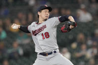 Minnesota Twins starting pitcher Kenta Maeda throws against the Seattle Mariners during the third inning of a baseball game, Monday, June 14, 2021, in Seattle. (AP Photo/Ted S. Warren)