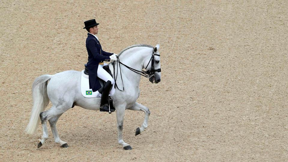 2016 Rio Olympics - Equestrian - Preliminary - Dressage Team Grand Prix Day 2 - Deodoro Olympic Equestrian Centre - Rio de Janeiro, Brazil - 11/08/2016. Joao Victor Marcari Oliva (BRA) of Brazil riding Xama Dos Pinhais competes. REUTERS/Tony Gentile  FOR EDITORIAL USE ONLY. NOT FOR SALE FOR MARKETING OR ADVERTISING CAMPAIGNS.   Picture Supplied by Action Images