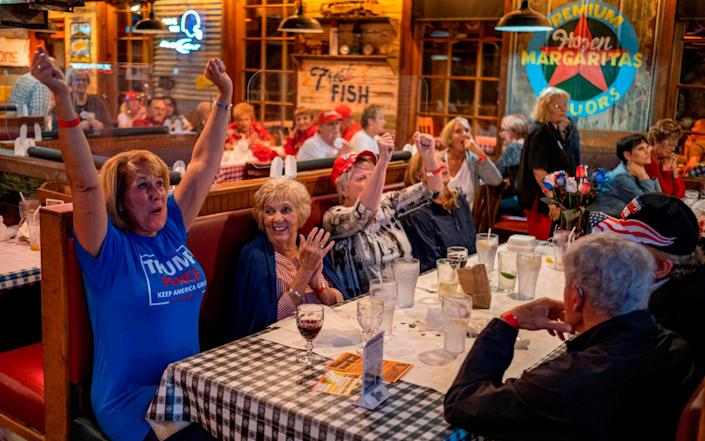 """People react as they watch a broadcast of Fox News showing presidential election returns at an election night watch party organized by group """"Villagers for Trump"""" in The Villages, Florida, on November 3, 2020 - GETTY IMAGES"""