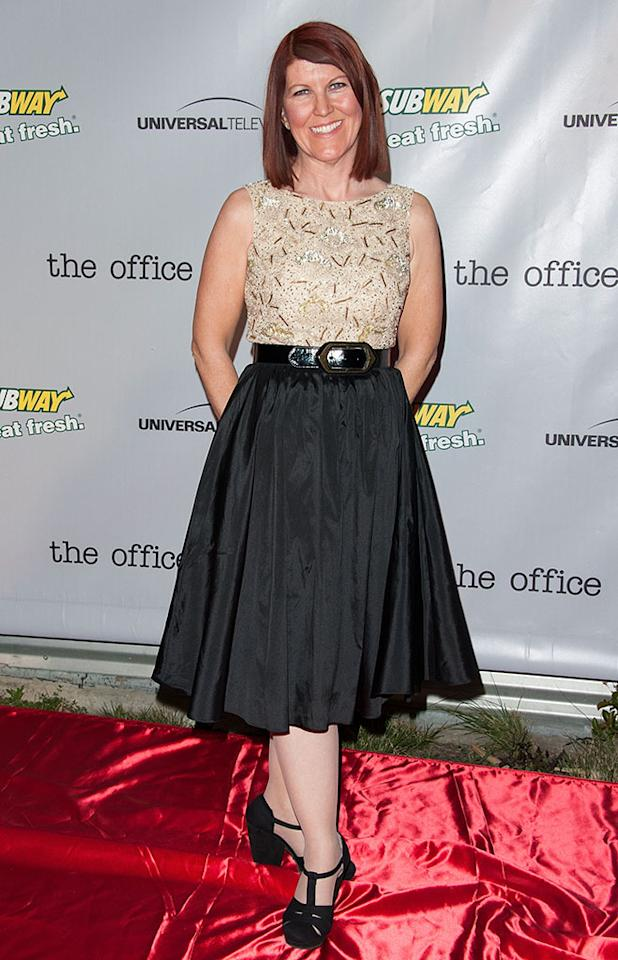 "Kate Flannery arrives at ""The Office"" series finale wrap party at Unici Casa Gallery on March 16, 2013 in Culver City, California."