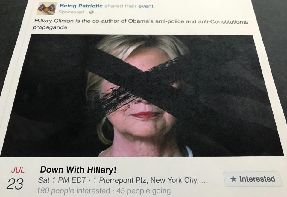 """<p> A Facebook posting, released by the House Intelligence Committee, for a group called """"Being Patriotic"""" is photographed in Washington, Friday, Feb. 16, 2018. A federal grand jury indictment on Feb. 16, charging 13 Russians and three Russian entities with an elaborate plot to interfere in the 2016 U.S. presidential election, noted that beginning in June 2016, defendants and and their co-conspirators organized and coordinated political rallies in the U.S. """"Being Patriotic"""" promoted and organized two political rallies in New York according to the indictment, including the one of July 23, 2016. (AP Photo/Jon Elswick) </p>"""