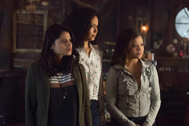 "Charmed -- ""Let This Mother Out"" -- Image Number: CMD102a_0011.jpg -- Pictured (L-R): Melonie Diaz as Mel, Madeleine Mantock as Macy and Sarah Jeffery as Maggie -- Photo: Dean Buscher/The CW -- © 2018 The CW Network, LLC. All Rights Reserved."