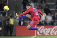 U.S. defender Sergino Dest tries to keep the ball from going out of bound during the second half of the team's CONCACAF Nations League soccer match against Canada on Friday, Nov. 15, 2019, in Orlando, Fla. (AP Photo/John Raoux)