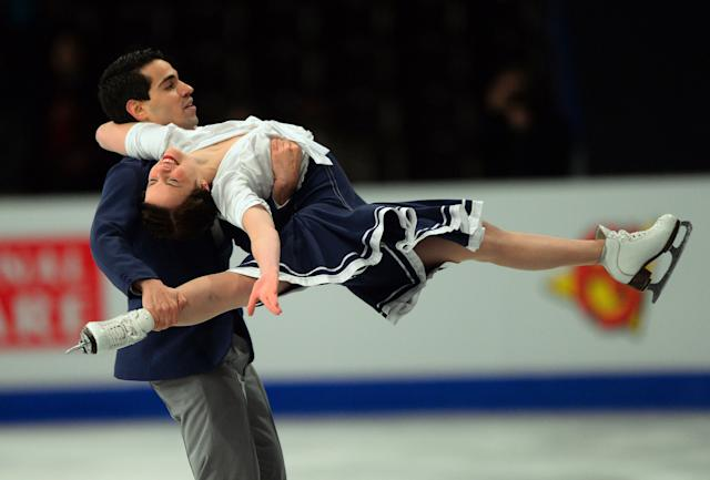 Italian ice dance pair Anna Cappellini and Luca Lanotte perform their short dance programme during the ISU European Figure Skating Championships on January 15, 2014 in Budapest, Hungary. (ATTILA KISBENEDEK/AFP/Getty Images)