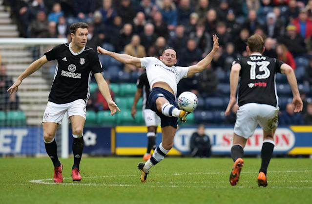 "Soccer Football - Championship - Preston North End vs Fulham - Deepdale, Preston, Britain - March 10, 2018 PrestonÕs Alan Browne in action Action Images/Paul Burrows EDITORIAL USE ONLY. No use with unauthorized audio, video, data, fixture lists, club/league logos or ""live"" services. Online in-match use limited to 75 images, no video emulation. No use in betting, games or single club/league/player publications. Please contact your account representative for further details."