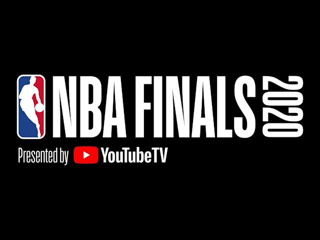 2020 NBA FINALS Presented by YouTube TV logo, graphic element on black