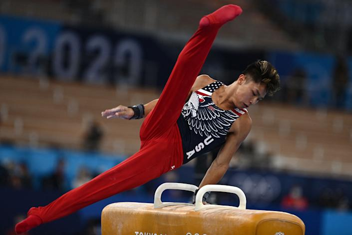 The United States' Yul Moldauer competes in the pommel horse event of the artistic gymnastics men's team final during the 2020 Tokyo Olympic Games.