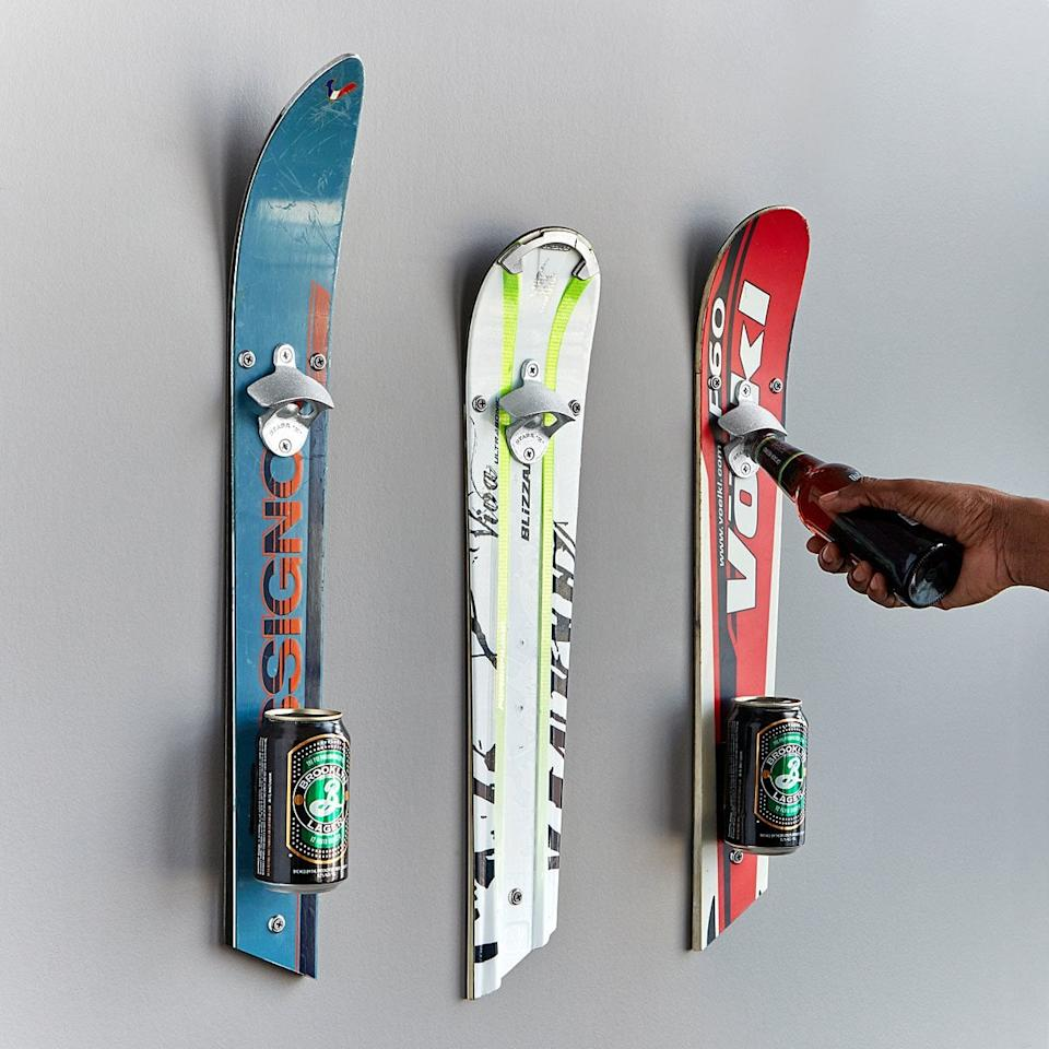 """<p>Crack open a cold one like never before with this <a rel=""""nofollow"""" href=""""http://www.popsugar.com/buy/Wall-Mounted%20Recycled%20Ski%20Bottle%20Opener-400825?p_name=Wall-Mounted%20Recycled%20Ski%20Bottle%20Opener&retailer=uncommongoods.com&price=45&evar1=fit%3Aus&evar9=45609526&evar98=https%3A%2F%2Fwww.popsugar.com%2Ffitness%2Fphoto-gallery%2F45609526%2Fimage%2F45610374%2FWall-Mounted-Recycled-Ski-Bottle-Opener&list1=gifts%2Choliday%2Cmen%2Csports%2Cgift%20guide%2Cfitness%20gear%2Cfitness%20gifts%2Cgifts%20for%20men&prop13=desktop&pdata=1"""" rel=""""nofollow"""">Wall-Mounted Recycled Ski Bottle Opener</a> ($45).</p>"""