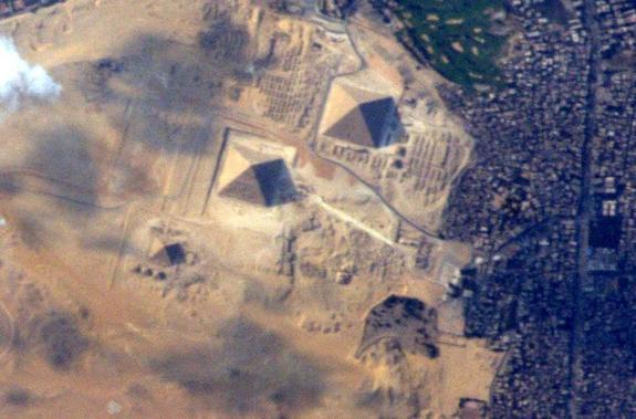 American astronaut Terry Virts of NASA took this photo of the Great Pyramids of Egypt on June 10, his last full day in space, and posted it on Twitter before returning to Earth on a Soyuz spacecraft on June 11, 2015. He had spent 200 days livin