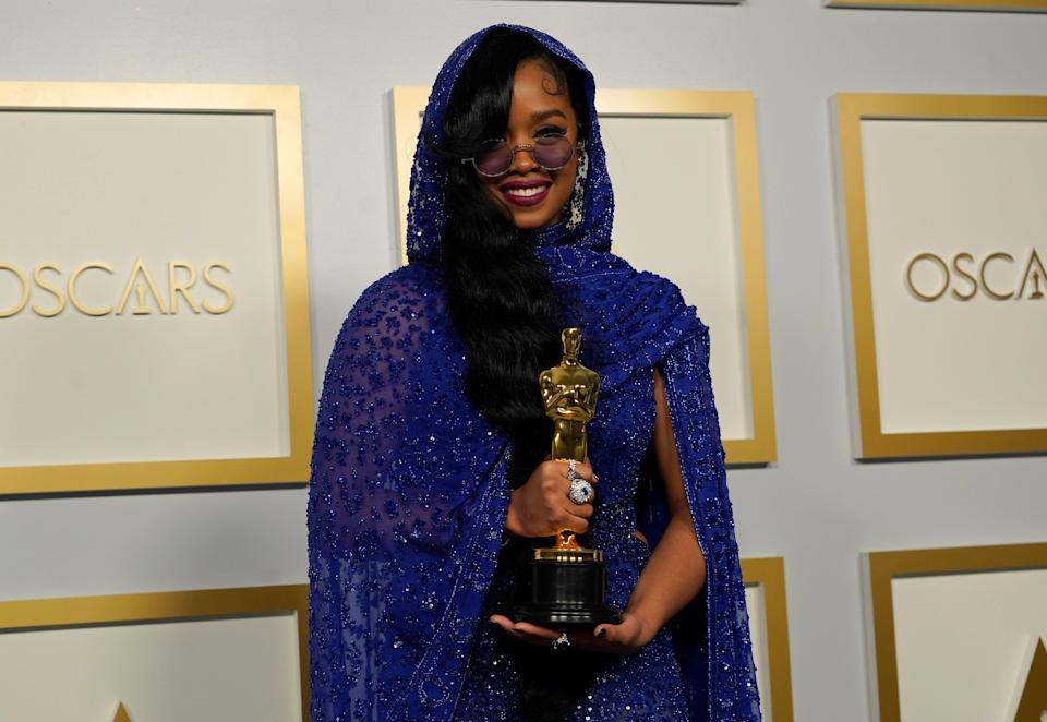 H.E.R., winner of the award for Best Original Song for Fight For You from 'Judas and the Black Messiah'AP