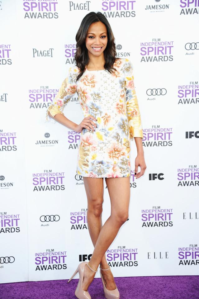 SANTA MONICA, CA - FEBRUARY 25:  Actress Zoe Saldana arrives at the 2012 Film Independent Spirit Awards on February 25, 2012 in Santa Monica, California.  (Photo by Alberto E. Rodriguez/Getty Images)