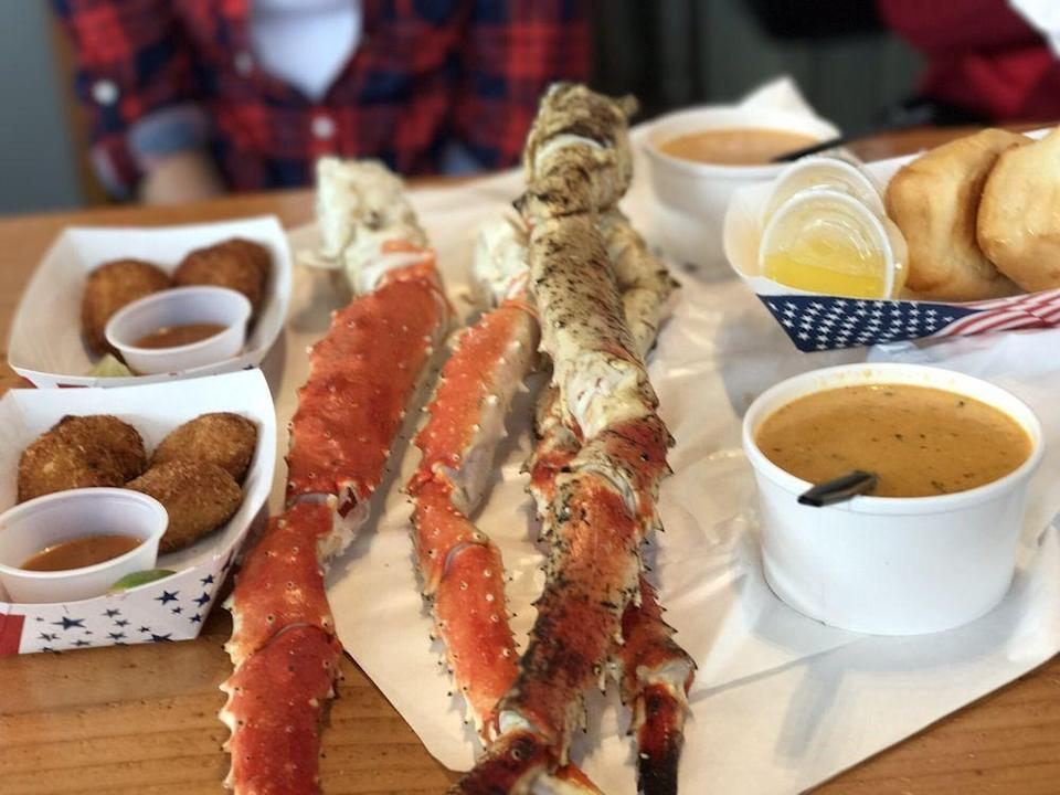"""<p><strong><a href=""""https://www.yelp.com/biz/tracys-king-crab-shack-juneau-3"""" rel=""""nofollow noopener"""" target=""""_blank"""" data-ylk=""""slk:Tracy's King Crab Shack"""" class=""""link rapid-noclick-resp"""">Tracy's King Crab Shack</a>, Juneau</strong></p><p>""""Can't describe the freshness and amazing taste of the king crab. 12 ounces of meat in one leg! Also had the crab bisque, which was super tasty, and the beer flight.... yum."""" — Yelp user <a href=""""https://www.yelp.com/user_details?userid=lCwUx00eonP1Z904YjR2RQ"""" rel=""""nofollow noopener"""" target=""""_blank"""" data-ylk=""""slk:Loan N."""" class=""""link rapid-noclick-resp"""">Loan N.</a></p><p>Photo: Yelp/<a href=""""https://www.yelp.com/user_details?userid=pBhaCEcdbdDv76kMwm8Nng"""" rel=""""nofollow noopener"""" target=""""_blank"""" data-ylk=""""slk:Bradd F."""" class=""""link rapid-noclick-resp"""">Bradd F.</a></p>"""