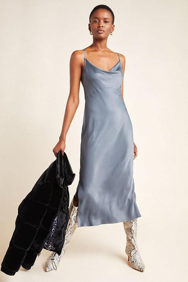 """<p>Anthropologie Bias Slip Dress, $120, <a href=""""https://rstyle.me/+XKodzT8sq5CtKTdrLLZbrg"""" rel=""""nofollow noopener"""" target=""""_blank"""" data-ylk=""""slk:available here"""" class=""""link rapid-noclick-resp"""">available here</a>.</p>"""