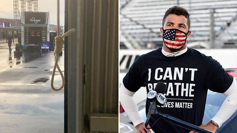 Pictured here, Bubba Wallace and the noose found in the driver's garage stall.