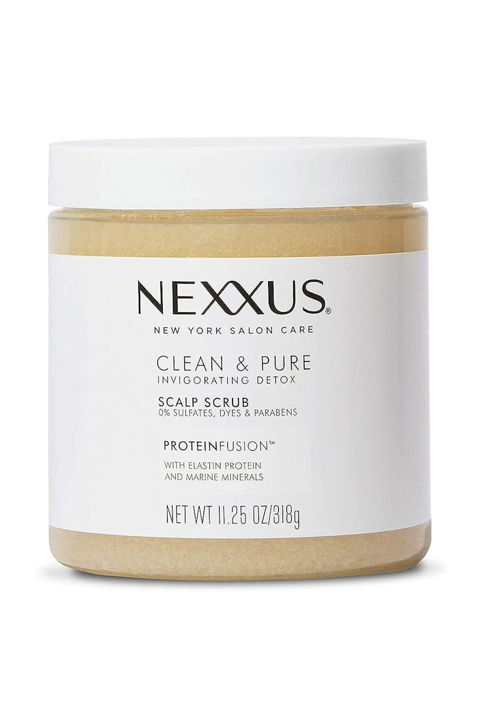"""<p><strong>Nexxus</strong></p><p>target.com</p><p><strong>$14.99</strong></p><p><a href=""""https://www.target.com/p/nexxus-clean-and-pure-scalp-scrub-11-25-fl-oz/-/A-75561069"""" rel=""""nofollow noopener"""" target=""""_blank"""" data-ylk=""""slk:Shop Now"""" class=""""link rapid-noclick-resp"""">Shop Now</a></p><p>Just because you can't spend a ton on a scalp scrub doesn't mean you have to settle—this <a href=""""https://www.cosmopolitan.com/style-beauty/beauty/g25019634/best-drugstore-shampoo-brands/"""" rel=""""nofollow noopener"""" target=""""_blank"""" data-ylk=""""slk:drugstore"""" class=""""link rapid-noclick-resp"""">drugstore</a> option checks off all the boxes. It gently exfoliates your scalp, while also <strong>infusing it with elastin protein and marine minerals to help strengthen</strong> and moisturize your hair. </p>"""