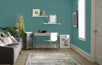 """<p>Dreaming of a cool-toned home office but can't decide between a calming blue palette or an invigorating shade of green? """"A coastal blue-green, such as <a href=""""https://www.behr.com/consumer/ColorDetailView/PPU12-3"""" rel=""""nofollow noopener"""" target=""""_blank"""" data-ylk=""""slk:Dragonfly"""" class=""""link rapid-noclick-resp"""">Dragonfly</a>, creates a soothing sanctuary for productivity and mindfulness,"""" Woelfel says. """"If you aren't ready to use this color on the walls, consider painting a bookshelf instead.""""</p>"""