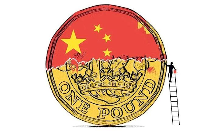 A pound coin China flag illustration