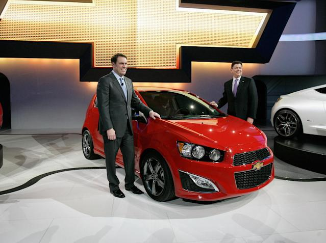 """<b><a href=""""http://autos.yahoo.com/chevrolet/sonic/2014/ls-manual-hatchback/"""" data-ylk=""""slk:Chevy Sonic Hatchback"""" class=""""link rapid-noclick-resp"""">Chevy Sonic Hatchback</a></b><br>MSRP: $14,770<br>MPG:26 City/35 Hwy<br><br>This subcompact out of Detroit allows you """"Buy American"""" street cred with a 1.8 L four-cylinder turbocharged engine and nice lines to boot. A Testarossa this is not--with only 138 horses under the hood, but it will merge you onto the highway just fine and more than make up for its shortcomings in the money you save."""