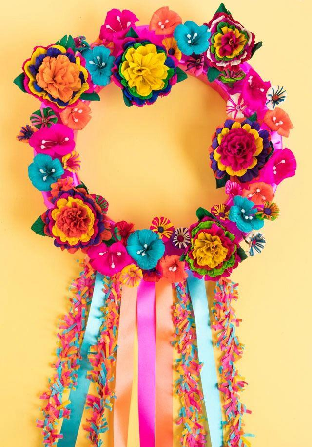 """<p>You don't need to head down to San Antonio for its Fiesta celebration to enjoy a lovely, handmaid flower crown this year.</p><p><em><a href=""""https://designimprovised.com/2019/04/how-to-make-a-gorgeous-fiesta-flower-wreath.html"""" target=""""_blank"""">Get the tutorial from Designed Improvised »</a></em></p>"""
