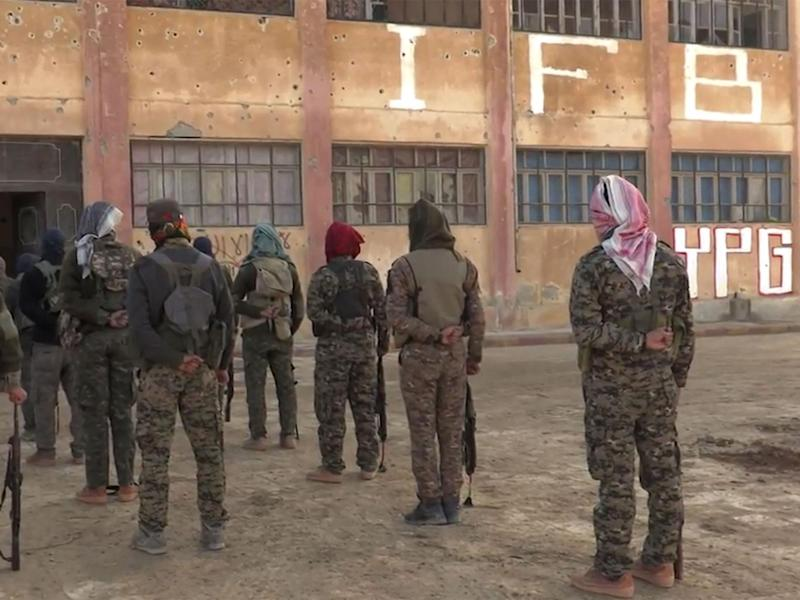 Members of the Bob Crow Brigade at the YPG's International Freedom Battalion headquarters on the Raqqa front (Supplied)