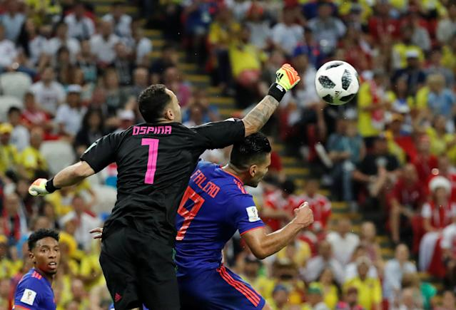 Soccer Football - World Cup - Group H - Poland vs Colombia - Kazan Arena, Kazan, Russia - June 24, 2018 Colombia's David Ospina and Radamel Falcao in action REUTERS/Toru Hanai