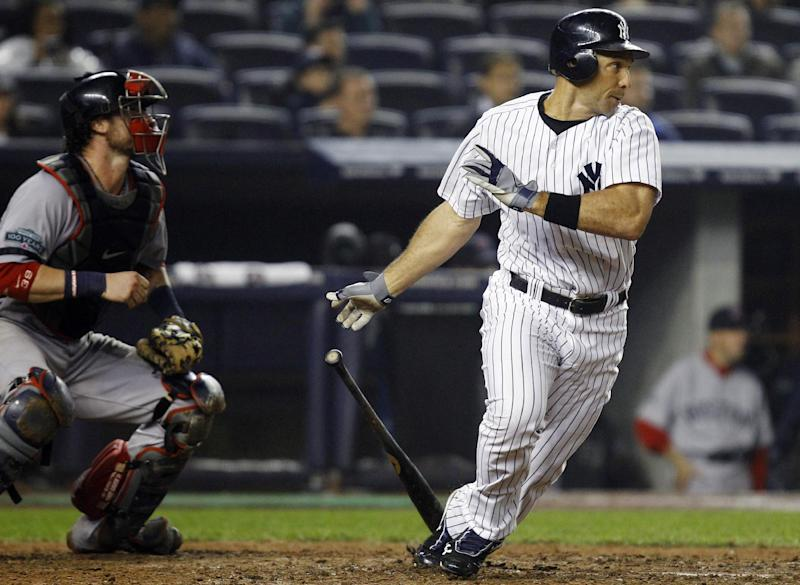 New York Yankees' Raul Ibanez watches his 12th inning, walk-off RBI single that lifted the Yankees to a 4-3 victory over the Boston Red Sox in their baseball game at Yankee Stadium in New York, Tuesday, Oct. 2, 2012. (AP Photo/Kathy Willens)