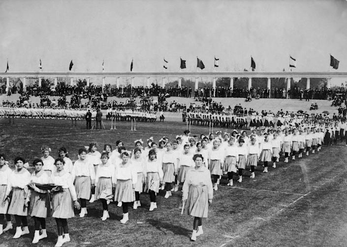 """<p>Women were first allowed to participate in the Olympics in 1900. That said, they were only allowed to compete in <a href=""""https://olympics.com/ioc/faq/history-and-origin-of-the-games/when-did-women-first-compete-in-the-olympic-games#:~:text=Search%20form-,When%20did%20women%20first%20compete%20in%20the%20Olympic%20Games%3F,to%20gender%20equality%20in%20sport."""" rel=""""nofollow noopener"""" target=""""_blank"""" data-ylk=""""slk:five sports"""" class=""""link rapid-noclick-resp"""">five sports</a>: tennis, croquet, equestrian, sailing and golf. </p>"""