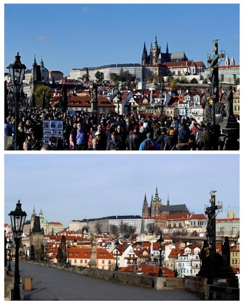 FILE PHOTO: A combination picture shows tourists walking across the medieval Charles Bridge in Prague