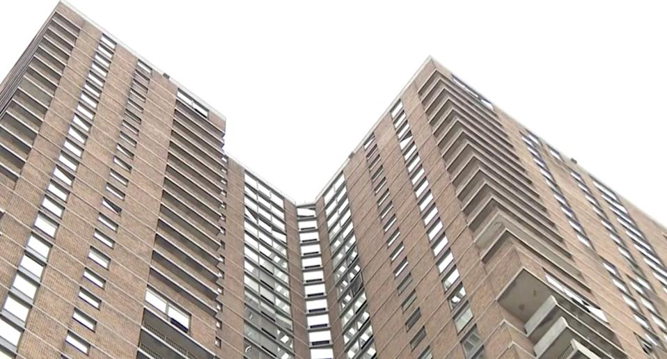 Pictured is Manhattan Plaza, where the boy fell from. Source: CBS