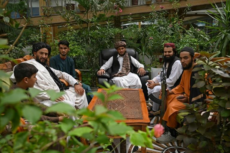 Taliban fighters have taken over the glitzy Kabul mansion of one of their fiercest enemies -- the warlord and fugitive ex-vice president Dostum (AFP/Wakil KOHSAR)