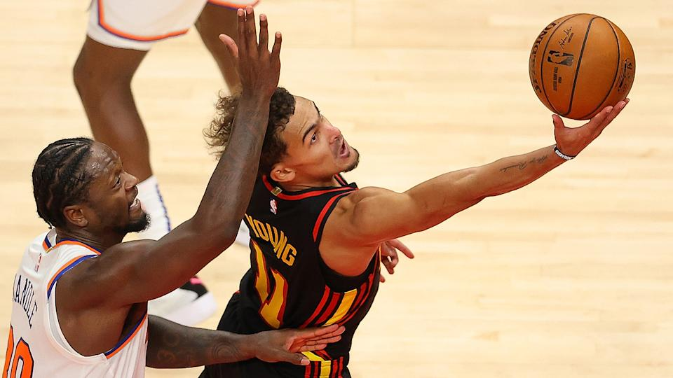 Trae Young and Julius Randle will be in the spotlight in their NBA playoff debuts. (Photo by Kevin C. Cox/Getty Images)