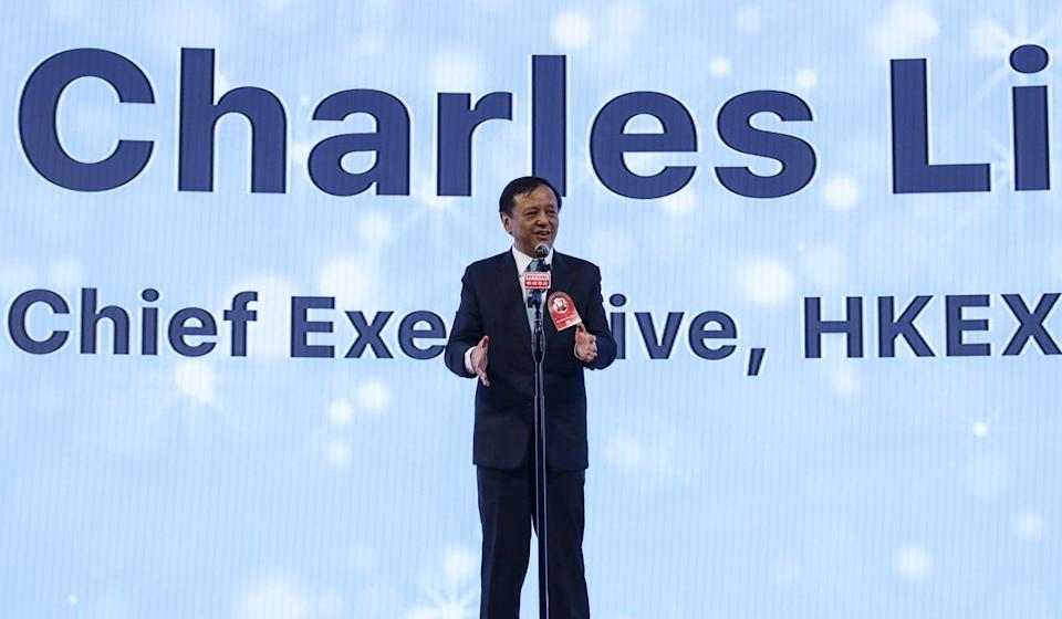 Charles Li Xiaojia, chief executive of HKEX, proposes introducing a new IPO settlement platform in 2022. Photo: Xiaomei Chen