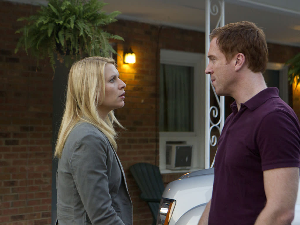 "Claire Danes as Carrie Mathison and Damian Lewis as Nicholas ""Nick"" Brody in the ""Homeland"" Season 2 episode, ""I'll Fly Away."""