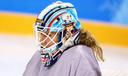 Feb 5, 2018; Gangneung, KOR; USA goalie Alex Rigsby (33) looks on during a training session for the PyeongChang 2018 Olympic Winter Games at Kwandong Hockey Centre. Mandatory Credit: Rob Schumacher-USA TODAY Sports