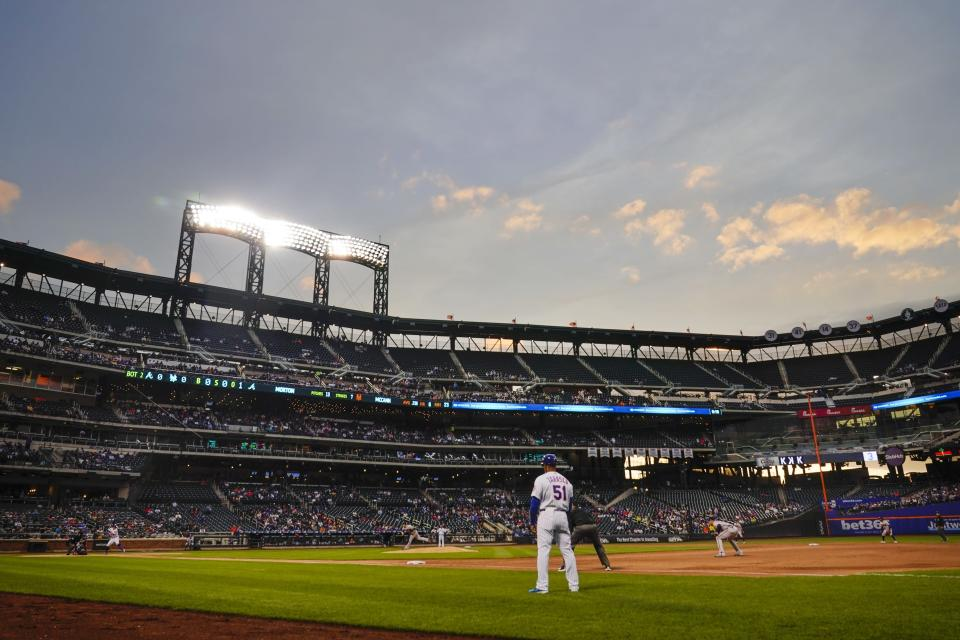 The Atlanta Braves play the New York Mets during the second inning of a baseball game Tuesday, June 22, 2021, in New York. (AP Photo/Frank Franklin II)