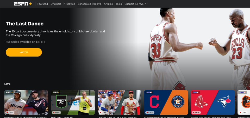 Homepage for subscription site ESPN+