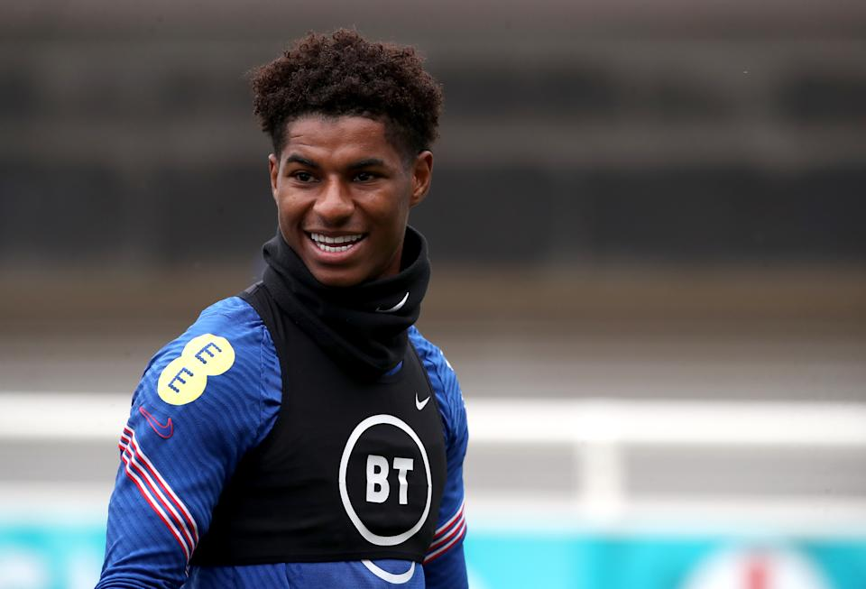 England's Marcus Rashford during a training session at St George's Park, Burton upon Trent. Picture date: Friday June 25, 2021. (Photo by Nick Potts/PA Images via Getty Images)