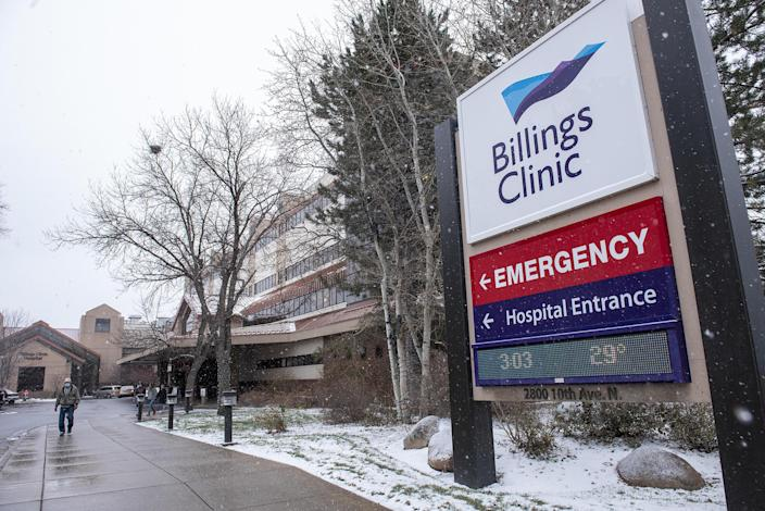 The sign at the Billings Clinic on November 11, 2020. / Credit: Lynn Donaldson/Bloomberg via Getty