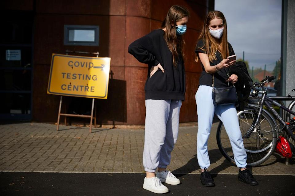 Students outside a temporary Covid-19 testing centre in Manchester last September.