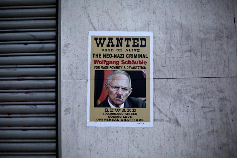 A poster depicting German Finance Minister Wolfgang Schaeuble in central Athens, on July 12, 2015 (AFP Photo/Angelos Tzortzinis)