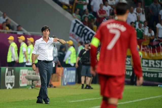 German headcoach Joachim Loew gestures during the Euro 2012 championships football match Germany vs Portugal on June 9, 2012 at the Arena Lviv. AFP PHOTO / DAMIEN MEYERDAMIEN MEYER/AFP/GettyImages