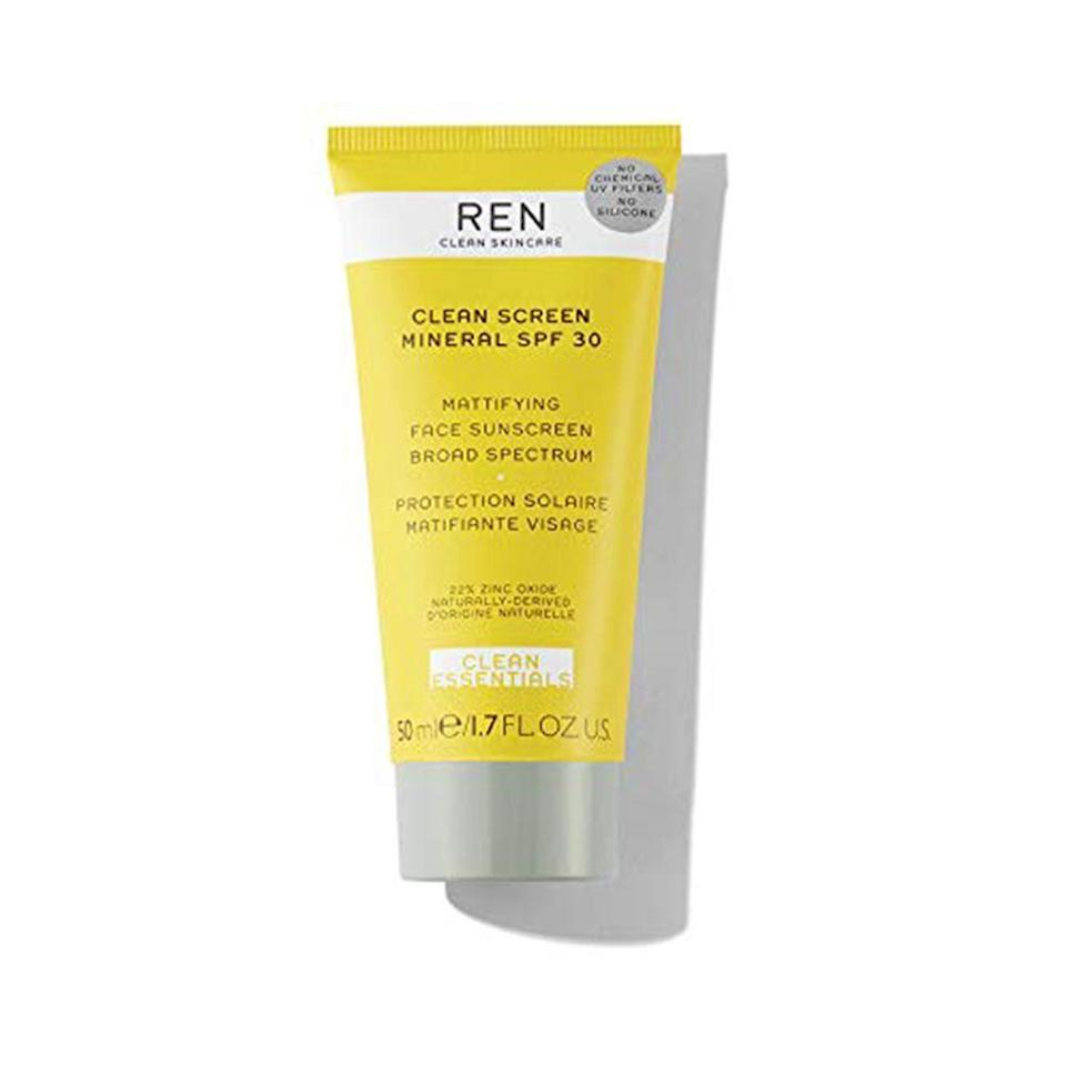 """<p><strong>REN Clean Skincare</strong></p><p>sephora.com</p><p><strong>$38.00</strong></p><p><a href=""""https://go.redirectingat.com?id=74968X1596630&url=https%3A%2F%2Fwww.sephora.com%2Fproduct%2Fclean-screen-mattifying-face-sunscreen-spf-30-P442990&sref=https%3A%2F%2Fwww.menshealth.com%2Fgrooming%2Fg32581649%2Fbest-reef-safe-sunscreen%2F"""" rel=""""nofollow noopener"""" target=""""_blank"""" data-ylk=""""slk:BUY IT HERE"""" class=""""link rapid-noclick-resp"""">BUY IT HERE</a></p><p>Wearing mineral sunscreen on your body is one thing, but how it feels on your face is another. This clean-ingredient formula contains zinc to help protect your face from UV rays but is non-greasy and contains rice starch to help soak up excess oil.</p>"""