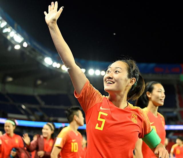 Haiyan Wu (No 5) of China celebrates with team mates their victory against South Africa after the match during the FIFA Women's World Cup group B first round at Parc des Princes Stadium in Paris, France on June 13, 2019. The FIFA Women's World Cup France 2019 will take place in France from 7 June until 7 July 2019 (Photo by Mustafa Yalcin/Anadolu Agency/Getty Images)