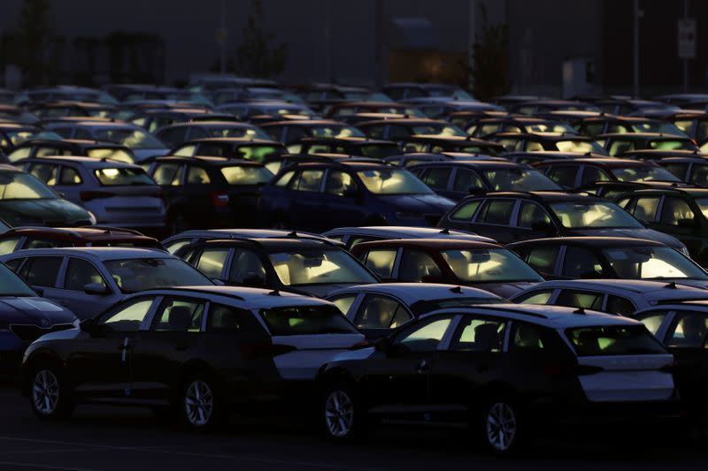 Cars are parked in the courtyard of Skoda Auto's factory as the company restarts production after shutting down last month due to the coronavirus disease (COVID-19) outbreak in Mlada Boleslav