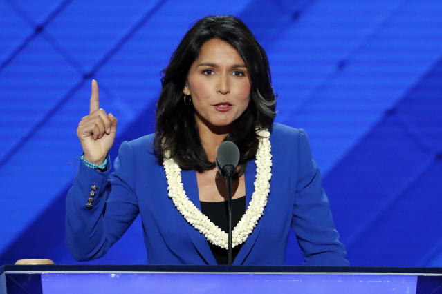 Rep. Tulsi Gabbard, D-Hawaii, speaks at the Democratic National Convention in Philadelphia, July 26, 2016. (Photo: J. Scott Applewhite/AP)