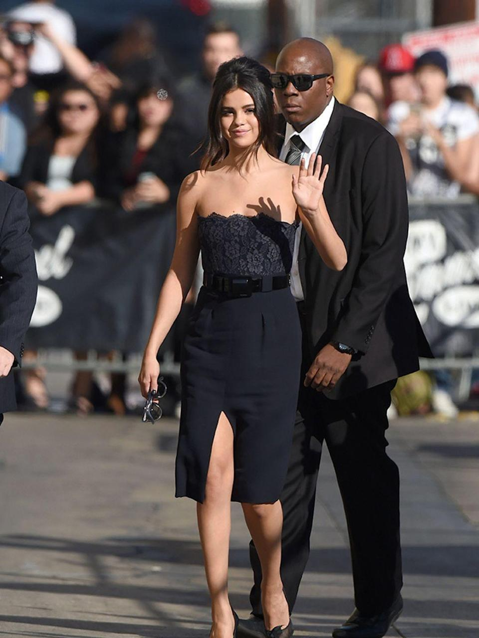 <p>Selena Gomez attends Jimmy Kimmel Live in Los Angeles, October 2014. </p>