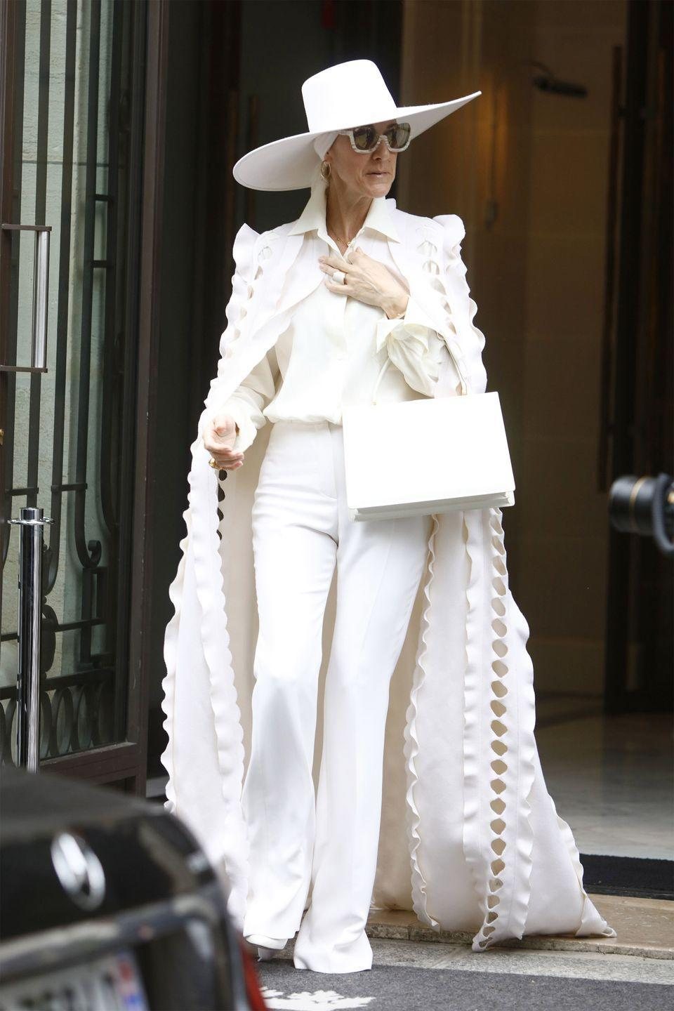 <p>Going for a very causal summer look, Dion stepped out in head-to-toe Ralph & Russo Haute Couture while out in Paris. </p>