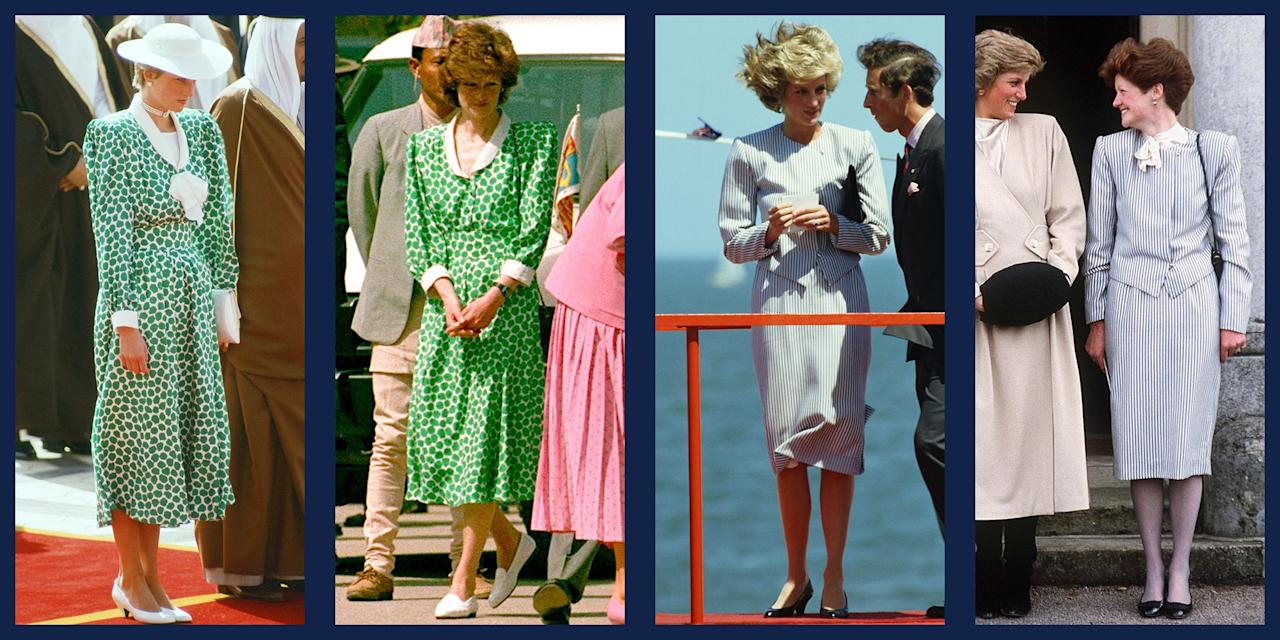 """<p>Like her daughter-in-law, the <a href=""""https://www.townandcountrymag.com/style/fashion-trends/g25620264/kate-middleton-repeat-outfits/"""">Duchess of Cambridge</a>, Princess Diana was a fan of <a href=""""https://www.townandcountrymag.com/style/fashion-trends/g20871924/princess-diana-recycled-outfits/"""">recycling her favorite outfits</a>. But did you know that the Princess of Wales let her friends and family borrow her clothes, too? (The royals, just like us!) While Di's most famous hand-me-down is the <a href=""""https://www.townandcountrymag.com/style/jewelry-and-watches/a13052347/kate-middleton-engagement-ring/"""">12-carat sapphire ring</a> that Prince William gave to Kate Middleton in 2010 when they got engaged, the Princess of Wales's older sister <a href=""""https://www.townandcountrymag.com/society/tradition/a12138504/princess-diana-sisters-lady-sarah-mccorquodale-jane-fellowes/"""">Lady Sarah McCorquodale</a> and sister-in-law, <a href=""""https://www.townandcountrymag.com/society/tradition/a20691403/fergie-duchess-york-facts/"""">Sarah, Duchess of York</a>, were often seen re-wearing the princess's maternity dresses and skirt suits over the years. </p><p>See here the most stylish outfits Princess Diana shared, and perhaps you'll be able to finally convince your sister to let you raid her closet, too.</p>"""